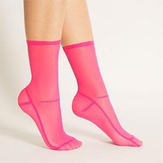 Lola Hot Pink Mesh Socks