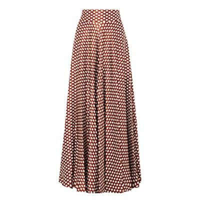 Polka-Dot Silk-Satin Maxi Skirt