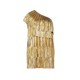 Plus Size One Shoulder Metallic Pleated Dress