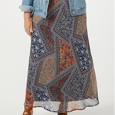 Plus Size Patchwork Maxi Skirt