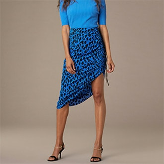 Crepe Ruched Pencil Skirt