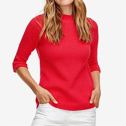 3/4 Sleeve Mock Neck Sweater,