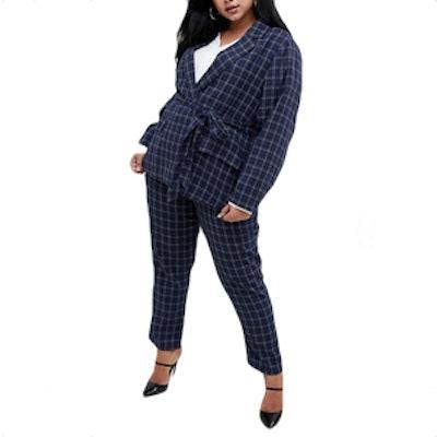 Fashion Union Plus Tie Waist Check Blazer Two-Piece