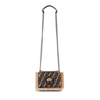Fendi Kan I Raffia & Leather Small Shoulder Bag