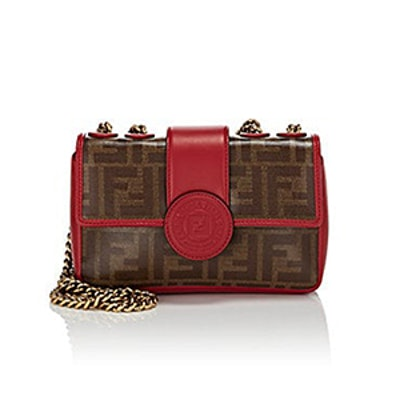 """""""Double F"""" Mini Coated Canvas & Leather Shoulder Bag"""