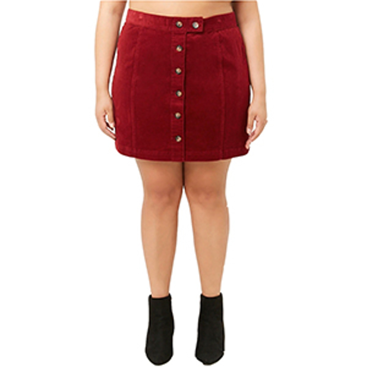 Plus Size Button-Front Corduroy Skirt