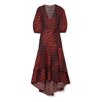 Ganni Bijou Leopard-Print Cotton-Poplin Dress