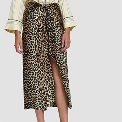 Ganni Silk Leopard Print Skirt