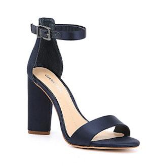 Gianni Bini Joenah Satin Two Piece Ankle Strap Block Heel Dress Sandals