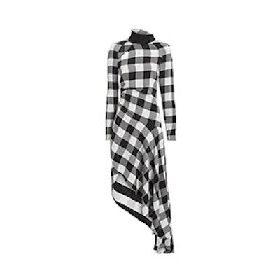 Gingham Asymmetric Midi Dress