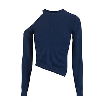 Cold Shoulder Asymmetrical Navy Sweater