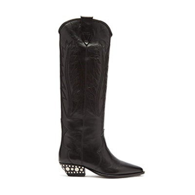 Dinzi Western Leather Knee-High Boots