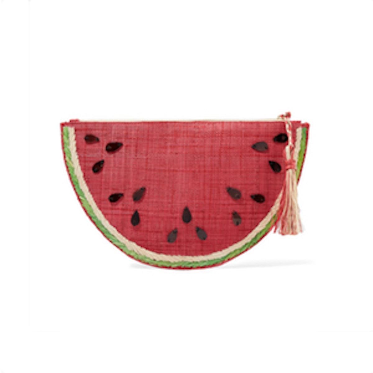 Kayu Frutta Embellished Straw Pouch