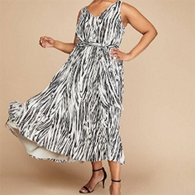Printed Ruffle-Hem Maxi Dress With Belt