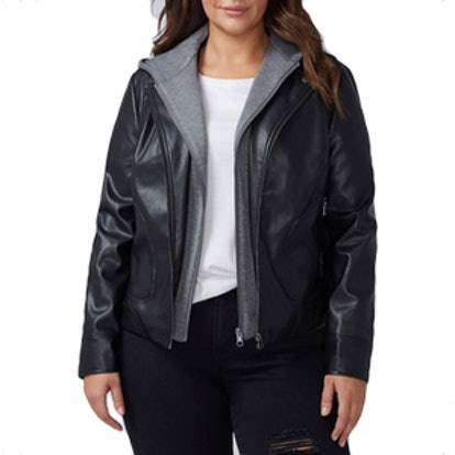 Faux Leather Moto Jacket With Hood