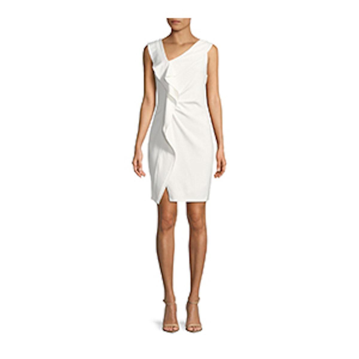 Asymmetrical Ruffle Sheath Dress