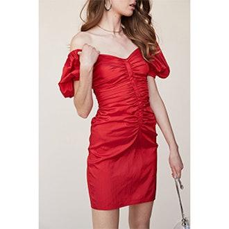 Shirred Button Up Dress