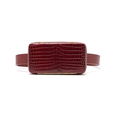 Evan Crocodile-Effect Leather Belt Bag