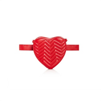 Quilted Leather Heart Belt Bag