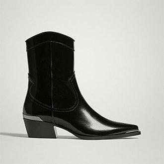 Black Antik Leather Cowboy Ankle Boots