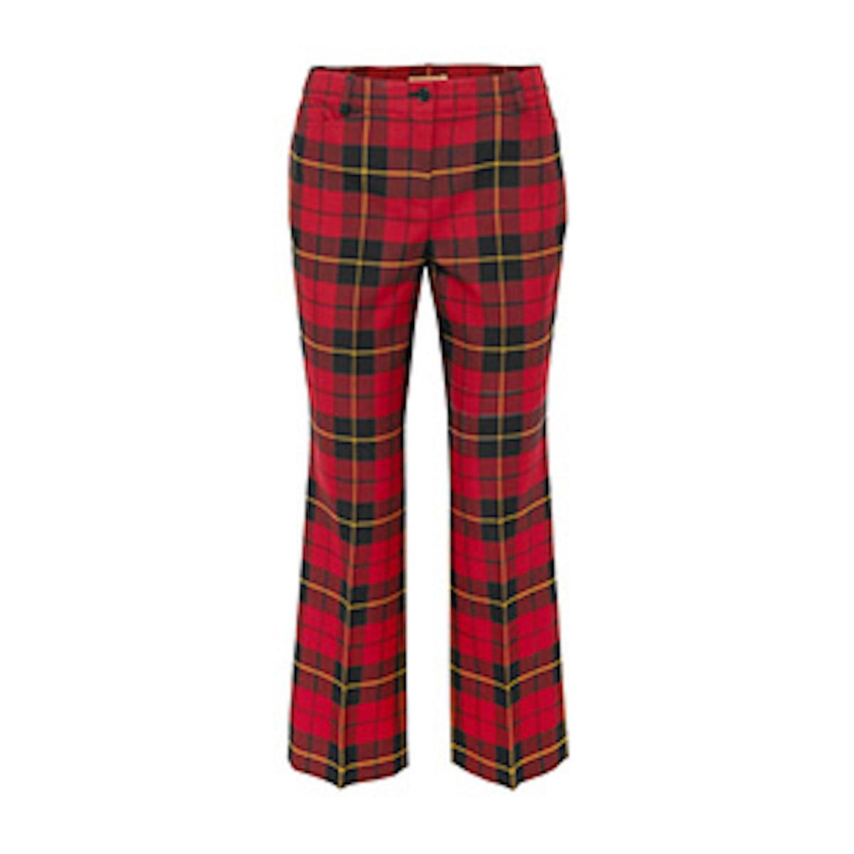 Cropped Tartan Wool Straight-Leg Pants