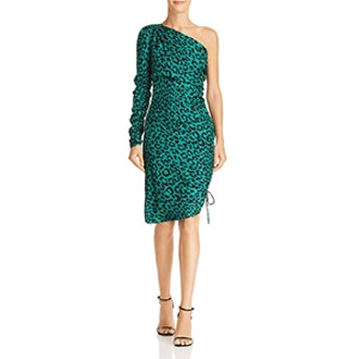 Milly Cara One-Shoulder Silk Leopard Dress