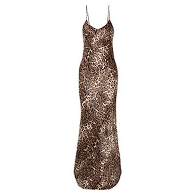 Nili Lotan Leopard-Print Silk-Satin Maxi Dress