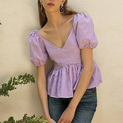 Lavender Gingham Top
