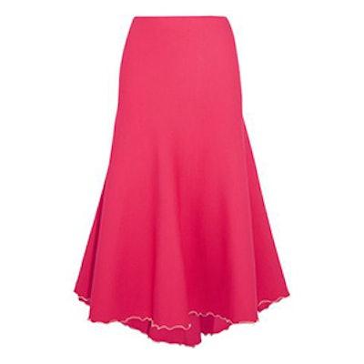 Tulle-Trimmed Bandage Midi Skirt
