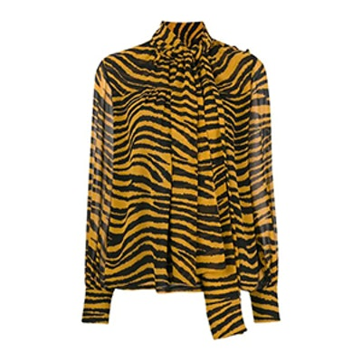 Tiger Stripe Pussy Bow Blouse