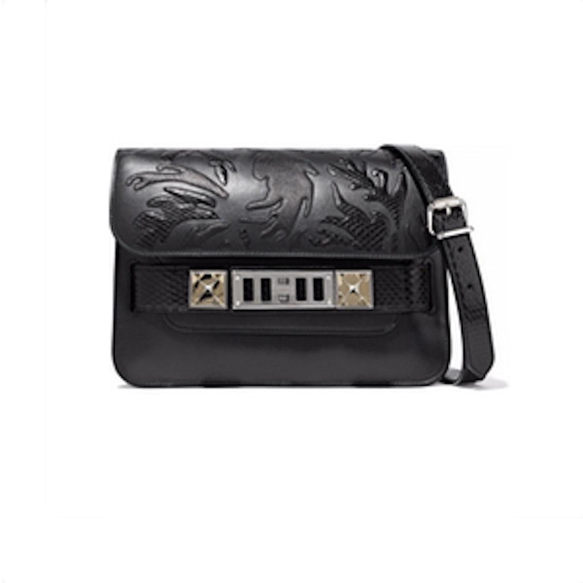 PS11 Mini Python-Appliquéd Leather Shoulder Bag