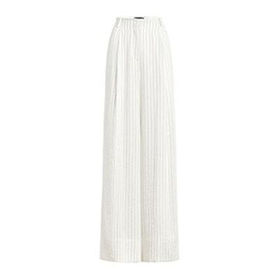 Lee Pinstripe Pleated Wide-Leg Pants