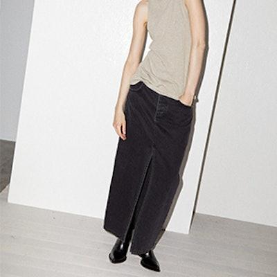 Slit-Front Denim Maxi Pencil Skirt