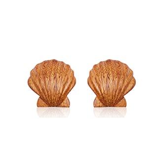 Ariel Shell Wood Earrings