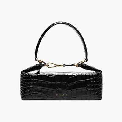 Black Olivia Crocodile Embossed Leather Box Bag