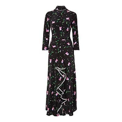 Gabriele Ruffled Floral-Print Silk Crepe De Chine Maxi Dress