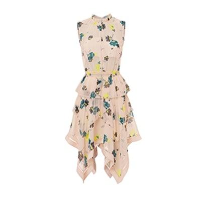 Asymmetric Graphic Floral Print Dress