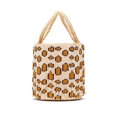 Mini Leopard-Print Beaded-Fringe Bucket Bag