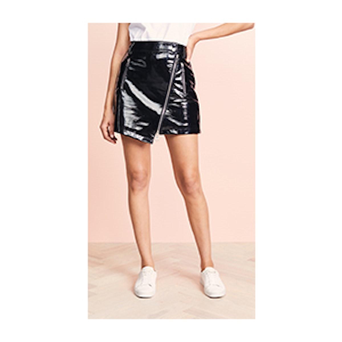 Ei8ht Dreams Asymmetric Zip Front Patent Leather Skirt