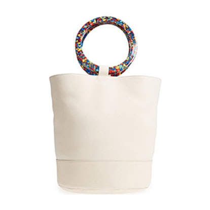 Confetti Handle Bonsai Leather Bucket Bag