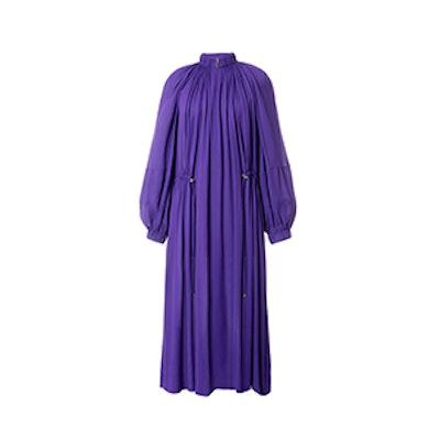 Viscose Georgette Midi Drawstring Dress