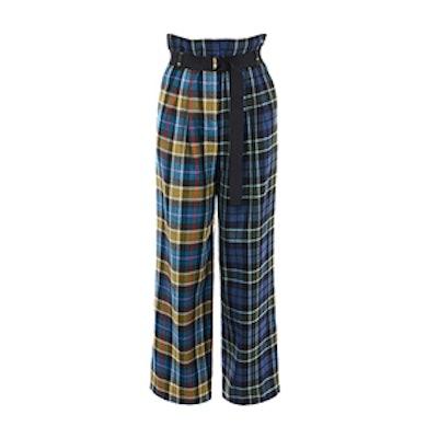 Tartan Stella Wide Leg Paperbag Pants With Removable Belt