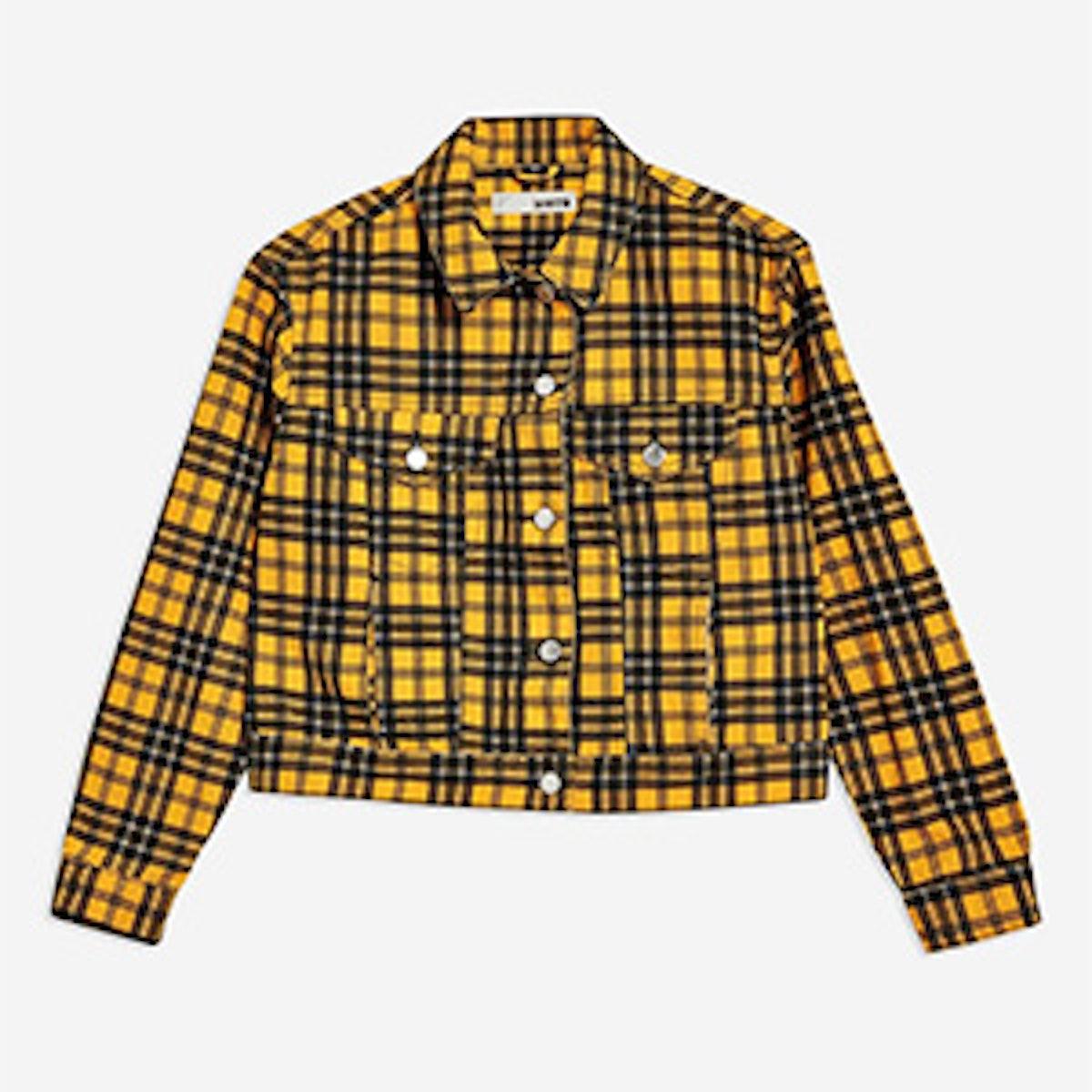 Yellow Check Denim Jacket
