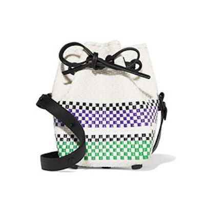 Leather-Trimmed Striped Basketweave Bucket Bag