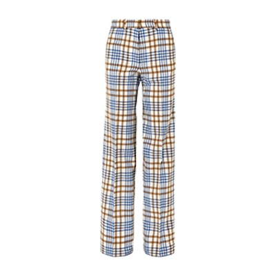 Checked Wool And Mohair-Blend Wide-Leg Pants