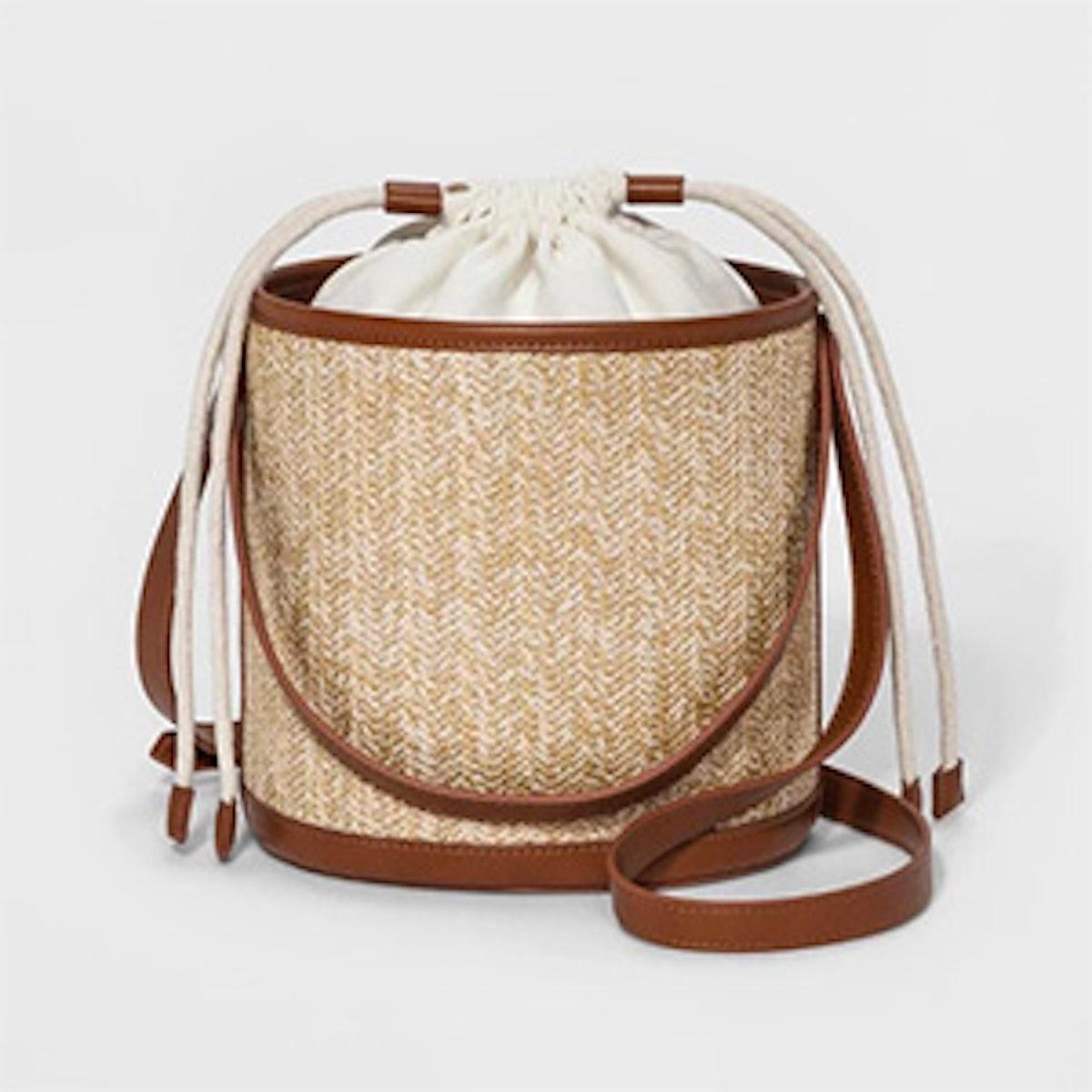 Cube Woven Bucket Bag