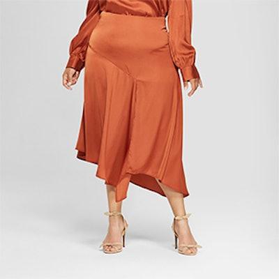 Plus Size Seamed Asymmetric Hem Slip Skirt