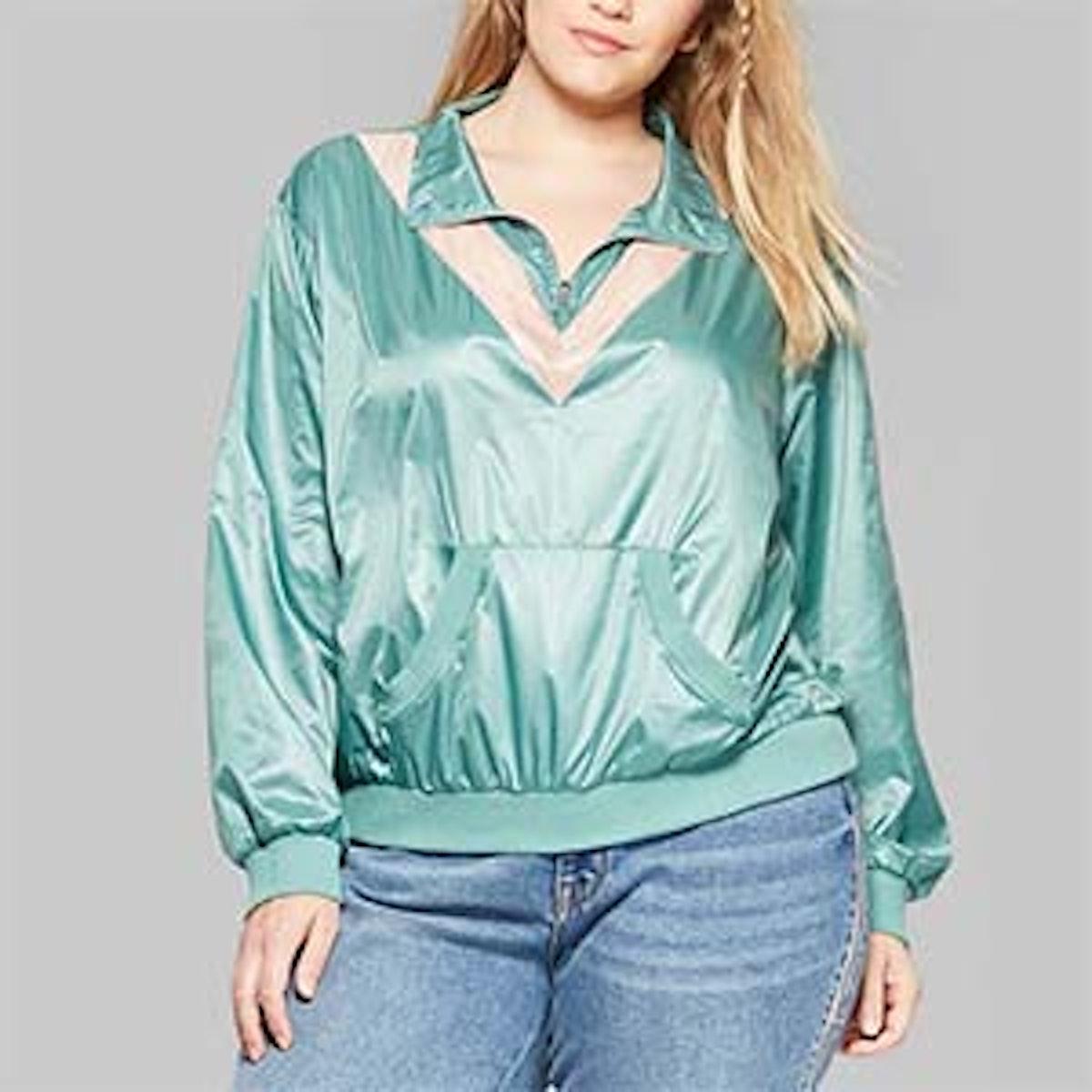 Wild Fable Women's Plus Size Long Sleeve Half-Zip Windbreaker Jacket