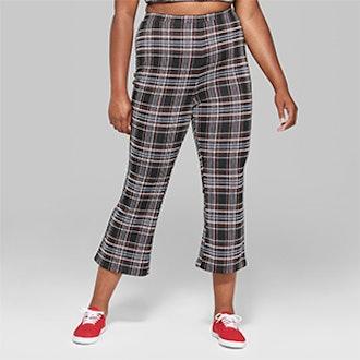 Wild Fable Women's Plus Size Plaid Kick Flare Cropped Pants