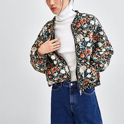 Printed Quilted Bomber Jacket
